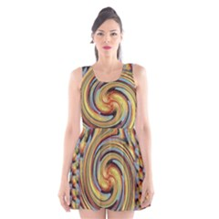 Gold Blue and Red Swirl Pattern Scoop Neck Skater Dress