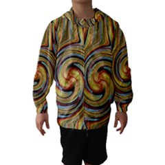 Gold Blue And Red Swirl Pattern Hooded Wind Breaker (kids)