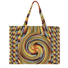 Gold Blue and Red Swirl Pattern Large Tote Bag