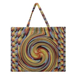 Gold Blue And Red Swirl Pattern Zipper Large Tote Bag