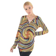 Gold Blue and Red Swirl Pattern Women s Tie Up Tee