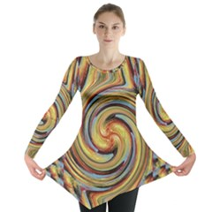 Gold Blue And Red Swirl Pattern Long Sleeve Tunic