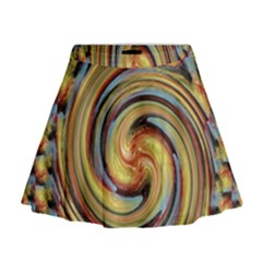 Gold Blue And Red Swirl Pattern Mini Flare Skirt