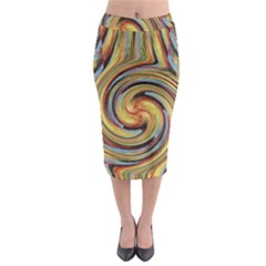 Gold Blue And Red Swirl Pattern Midi Pencil Skirt