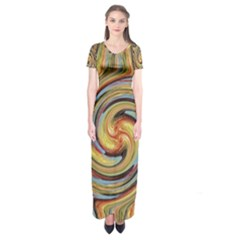 Gold Blue And Red Swirl Pattern Short Sleeve Maxi Dress
