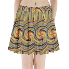 Gold Blue And Red Swirl Pattern Pleated Mini Skirt