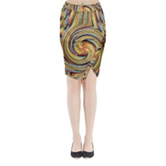 Gold Blue And Red Swirl Pattern Midi Wrap Pencil Skirt