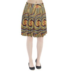 Gold Blue And Red Swirl Pattern Pleated Skirt