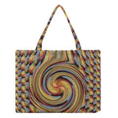 Gold Blue and Red Swirl Pattern Medium Tote Bag