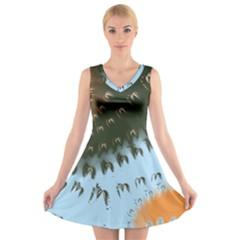 Sun Ray Swirl Design V Neck Sleeveless Skater Dress