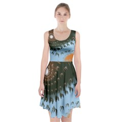 Sun Ray Swirl Design Racerback Midi Dress