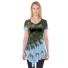 Sun-Ray Swirl Design Short Sleeve Tunic