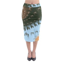 Sun Ray Swirl Design Midi Pencil Skirt