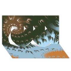 Sun-Ray Swirl Pattern Twin Hearts 3D Greeting Card (8x4)