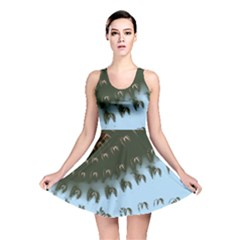 Sun-Ray Swirl Pattern Reversible Skater Dress