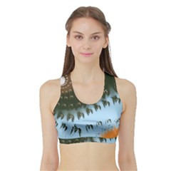 Sun Ray Swirl Pattern Sports Bra With Border