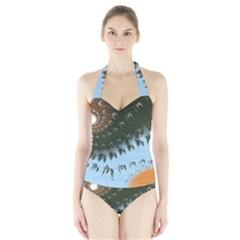 Sun-Ray Swirl Pattern Halter Swimsuit