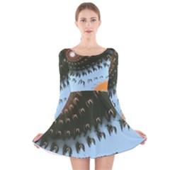 Sun Ray Swirl Pattern Long Sleeve Velvet Skater Dress