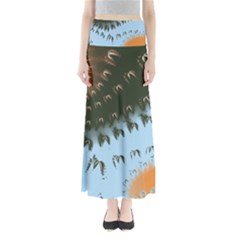 Sun Ray Swirl Pattern Maxi Skirts