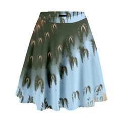 Sun-Ray Swirl Pattern High Waist Skirt