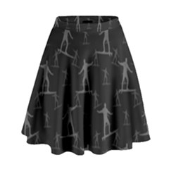 Surfing Motif Pattern High Waist Skirt