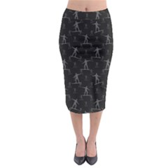 Surfing Motif Pattern Midi Pencil Skirt