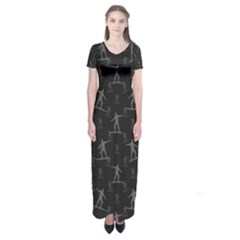 Surfing Motif Pattern Short Sleeve Maxi Dress