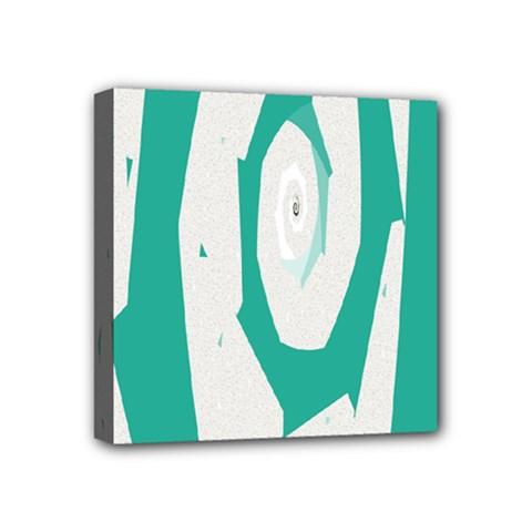 Aqua Blue and White Swirl Design Mini Canvas 4  x 4