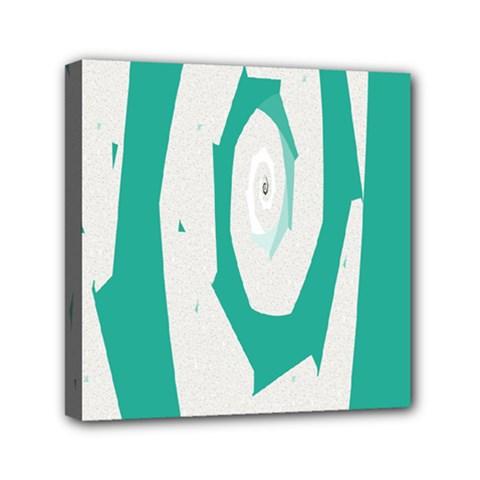 Aqua Blue And White Swirl Design Mini Canvas 6  X 6