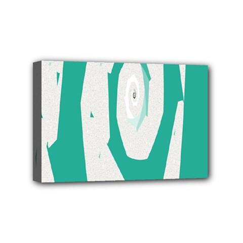 Aqua Blue And White Swirl Design Mini Canvas 6  X 4