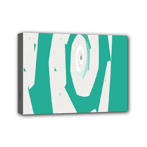 Aqua Blue and White Swirl Design Mini Canvas 7  x 5