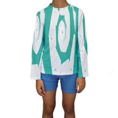 Aqua Blue and White Swirl Design Kids  Long Sleeve Swimwear