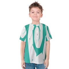 Aqua Blue And White Swirl Design Kids  Cotton Tee