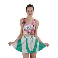 Aqua Blue And White Swirl Design Mini Skirt
