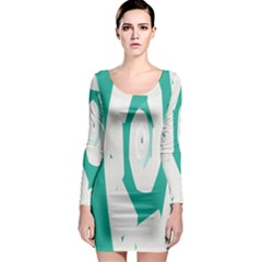 Aqua Blue and White Swirl Design Long Sleeve Bodycon Dress