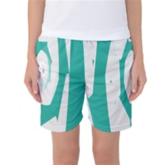 Aqua Blue and White Swirl Design Women s Basketball Shorts