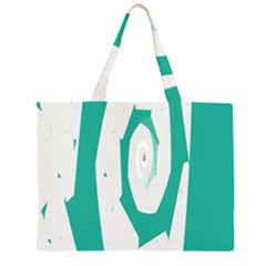 Aqua Blue and White Swirl Design Large Tote Bag