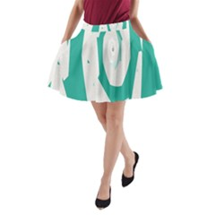 Aqua Blue and White Swirl Design A-Line Pocket Skirt