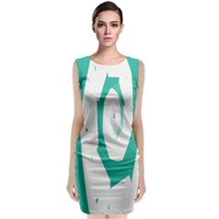 Aqua Blue and White Swirl Design Classic Sleeveless Midi Dress