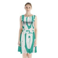 Aqua Blue And White Swirl Design Sleeveless Chiffon Waist Tie Dress