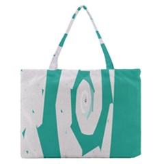 Aqua Blue And White Swirl Design Medium Zipper Tote Bag