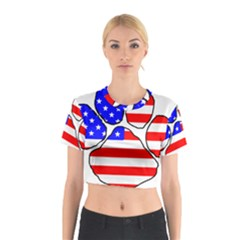 Usa Flag Paw Cotton Crop Top