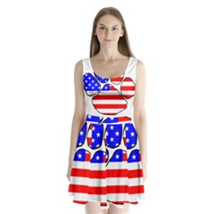 Usa Flag Paw Split Back Mini Dress