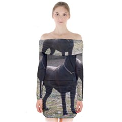 Cane Corso Full Long Sleeve Off Shoulder Dress