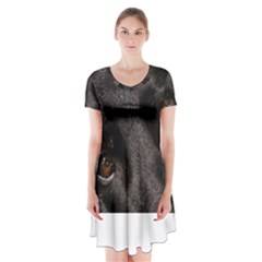 Black German Shepherd Eyes Short Sleeve V-neck Flare Dress