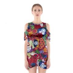 Guatemala Art Painting Naive Cutout Shoulder Dress
