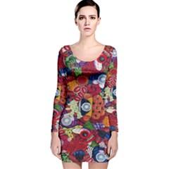 Guatemala Art Painting Naive Long Sleeve Velvet Bodycon Dress