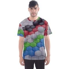 Hexagonal Wallpaper Random Blender Men s Sport Mesh Tee