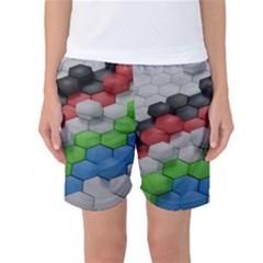 Hexagonal Wallpaper Random Blender Women s Basketball Shorts