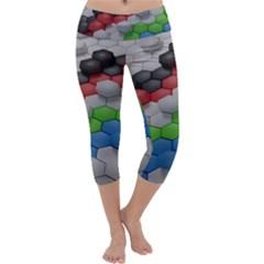 Hexagonal Wallpaper Random Blender Capri Yoga Leggings